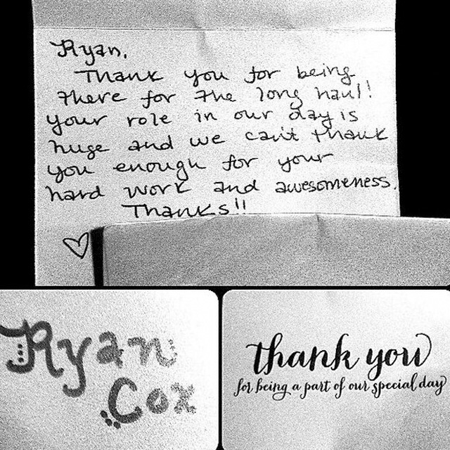 Coxx Events client's thank-you notes